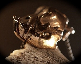bull dog skull pendant cast in NYC bronze