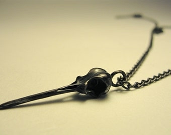 Hummingbird Skull Necklace, Black, Oxidized Solid Sterling Silver on matching chain