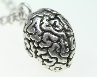 "Your Perfect Brain Anatomical Necklace (silver-plated antique finish) 24"" silver-plated chain"