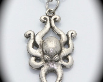 Octopus Necklace in Sterling Silver on a Silver chain carved and cast in NYC USA