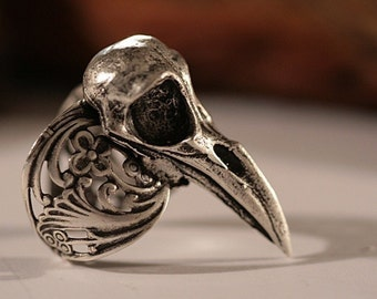 Raven Skull Ring  Self adjustable Sizes 4 to 11 (Made in NYC)