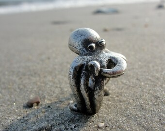 On sale Octopus Ring Antique Silver Finish Self Adjustable sizes  4 to 7 Made in NYC USA