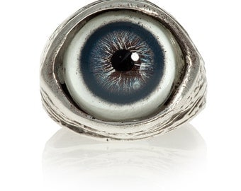 Human evil-eye ring in blue, solid sterling silver, size 4 to 11 adjustable (Made in NYC)
