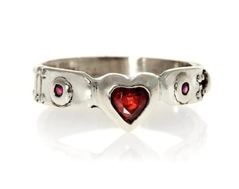silver  heart ring Ladies Red Garnet and Ruby Steampunk Industrial Ring Blue Bayer Design NYC