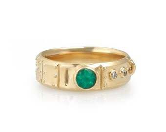 14k gold emerald and diamond industrial steampunk ring