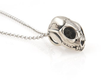 Small cat skull necklace silver white bronze on choice of chain lengths