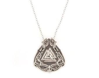 Das Valknut Viking rune necklace in white bronze