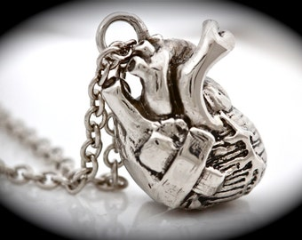 anatomical heart pendant heart with a band aid necklace healing a broken heart Made in NYC