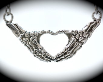 Sterling silver skeleton hands making an I heart you sign necklace Blue Bayer Design NYC quantity listing