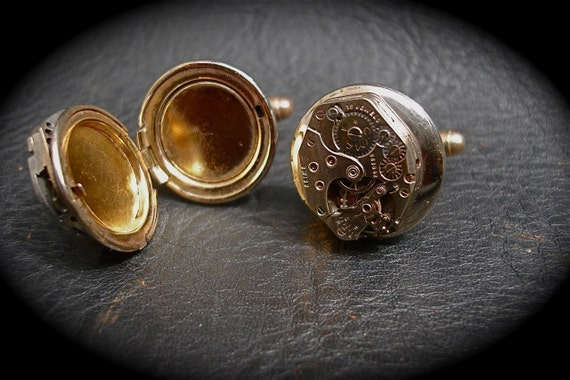Steampunk Spy Watch Gear Poison Cuff Links Locket By