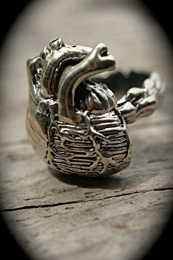 Little Anatomical Heart Ring (solid sterling silver)