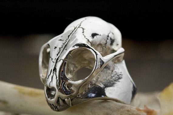 Sterling Wild Cat Skull Ring, Bobcat (cast to order in NYC)