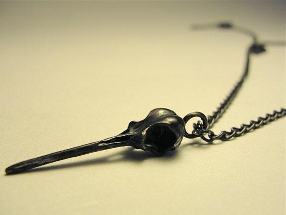 Black Hummingbird Skull Necklace Life-Cast