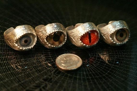 Green Human Eye Evil Eye Adjustable Silver Ring Solid Sterling Silver Goth Steam Punk Steampunk Made in NYC, Blue Bayer Billyblue22