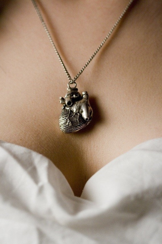 Anatomical heart pendant antiqued silver finish original design  jewelry made here in NYC 18 inch chain