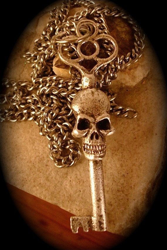 """skeleton key necklace, Double Faced, in Antique Silver on a 24"""" Chain (Original Design, Made in NYC) On Sale"""