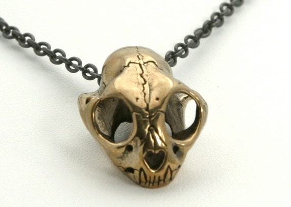 Small Cat Skull Necklace on sale  in Bronze  Bobcat Wildcat Skull