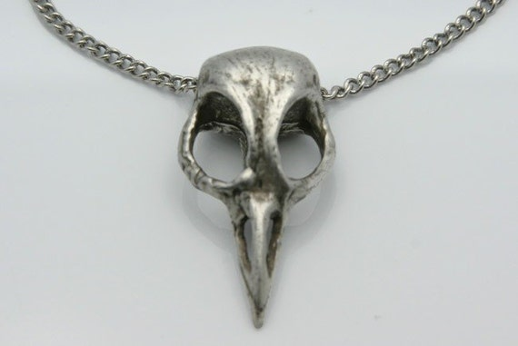Bellatrix cast metal Antique Silver Bird Skull Jewelry on a matching 18 inch chain made in NYC