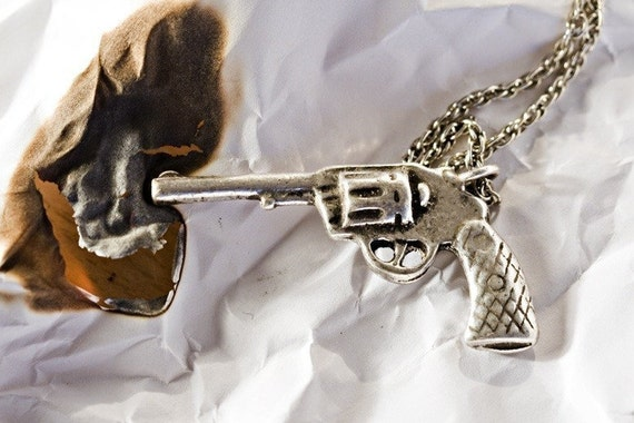 Gun Necklace Six-Shooter Pistol  in Antique Silver on  Chain (Made in NYC)