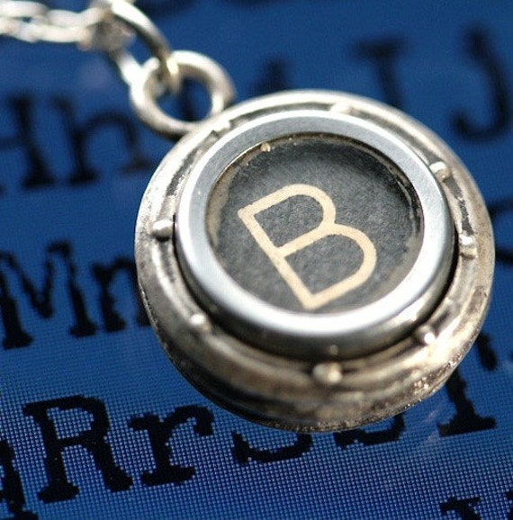 Typewriter Key Necklace Choose Any Letter or Number Steampunk Porthole Bezel original design industrial jewelry made in NYC