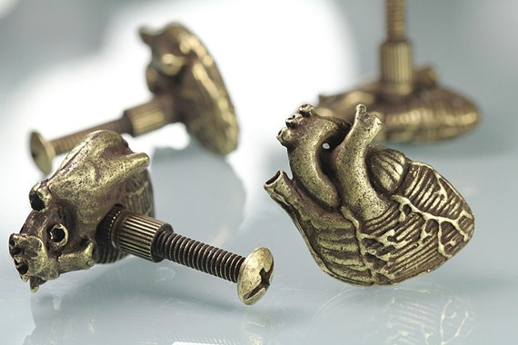 Special Quantiy for Yogi Knobs Bronze Heart Gold Small Bird Skull And Ram Skull Knobs