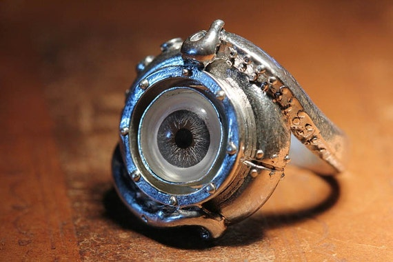 Evil Eye Sterling Tentacle Ring, Blue Human Eye, (made in NYC) sizes 4-14