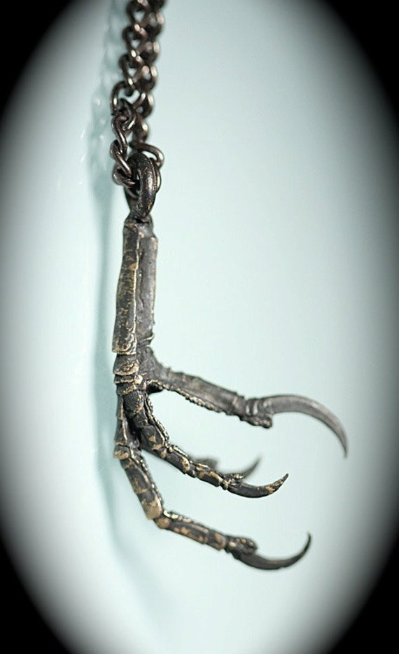 Blackened Bronze Bird Claw Necklace Made in NYC