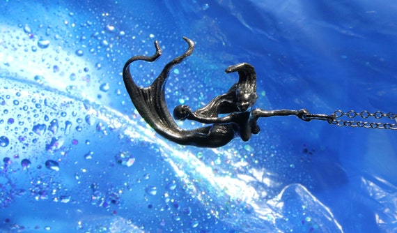 Mermaid pendant original carving cast in reclaimed bronze oxidized black