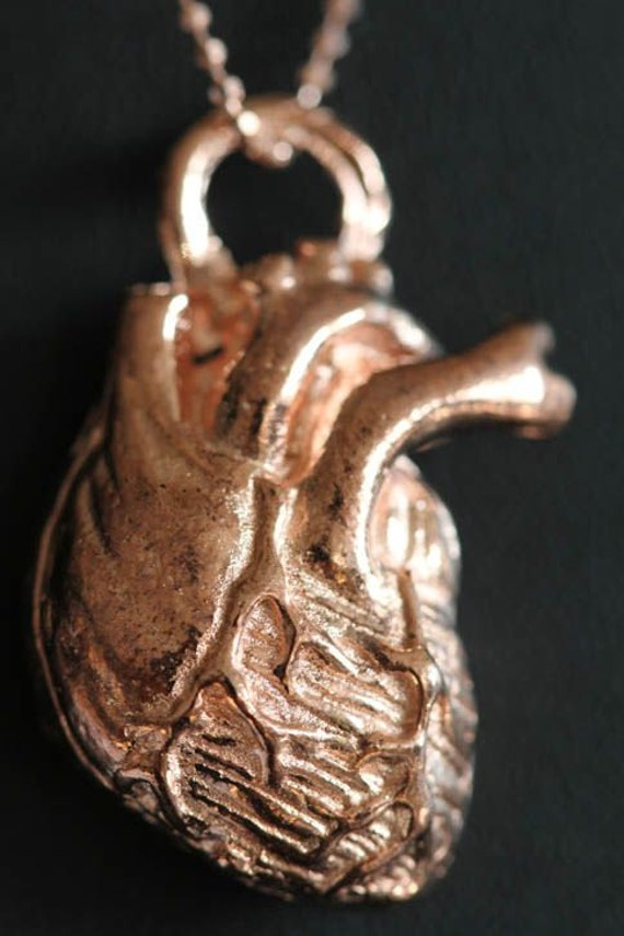 """Anatomical Heart Necklace small  (Plated in 14k rose gold), 18"""" rose gold plated chain, Made in NYC) quantity listing"""
