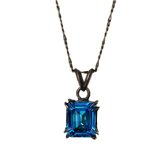Catbird Solitaire Pendant Blue Topaz 10x8 4.21 ct  Blue Bayer Desing NYC