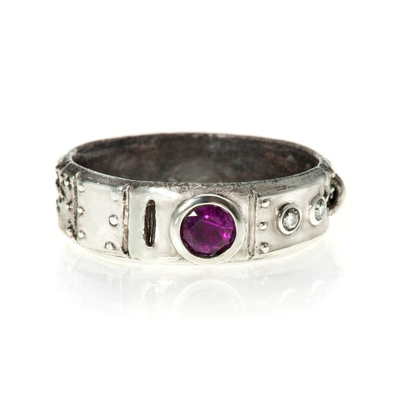 Ruby and Diamond Steampunk Industrial Ring Stering Silver
