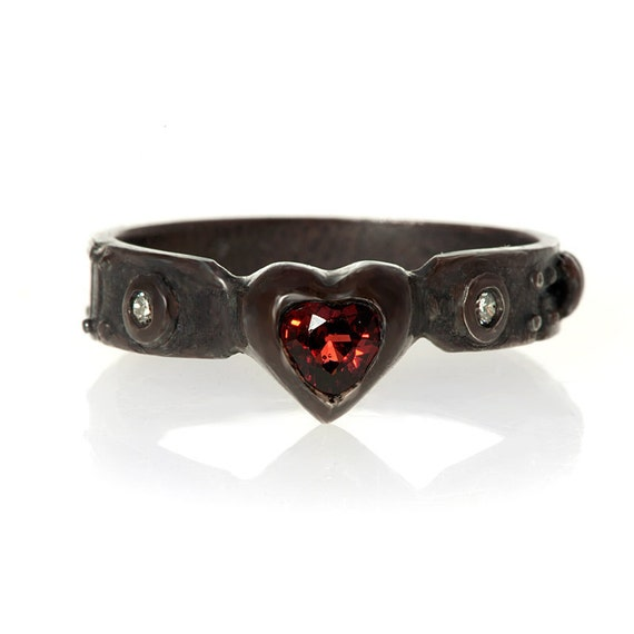 My heart ladies red garnet and diamond steampunk industrial ring Blue Bayer Design NYC