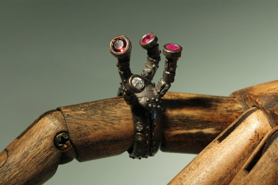 Industrial Tentacle cocktail  ring blackened .925 sterling set with rubies, garnet and white sapphire and diamonds