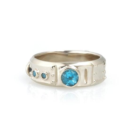 14k gold blue topaz blue diamond industrial steampunk ring