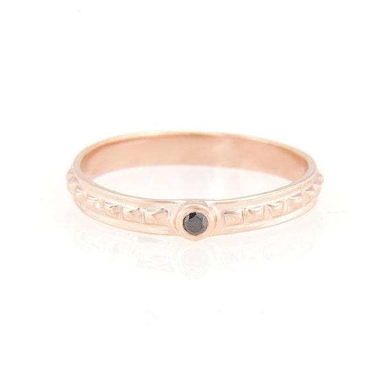 14k rose gold black diamond ring