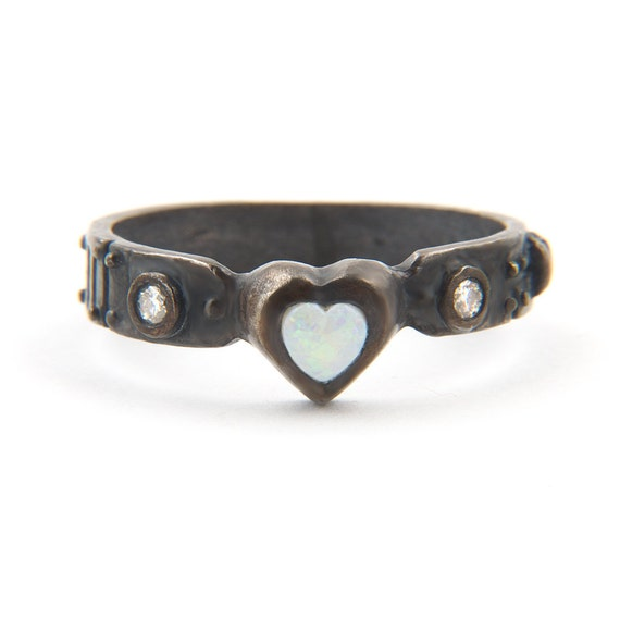 My heart Ladies Australian Opal  and Diamond Steampunk Industrial Ring Sterling Silver 2012 release Blue Bayer Design NYC