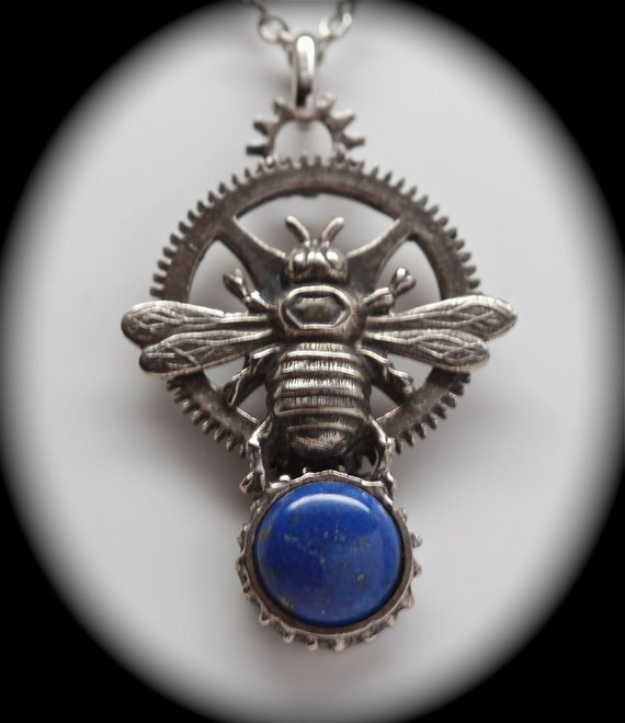 Honey bee clock gear pendant set with lapis  Made in NYC