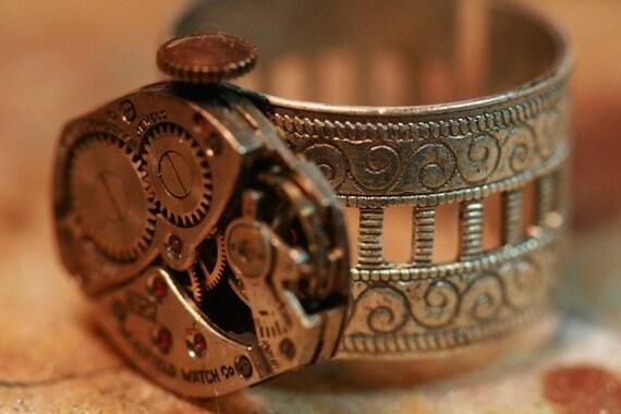 Watch Gear Movement Ring - Edwardian\/Victorian\/SteamPunk Style - Adjustable