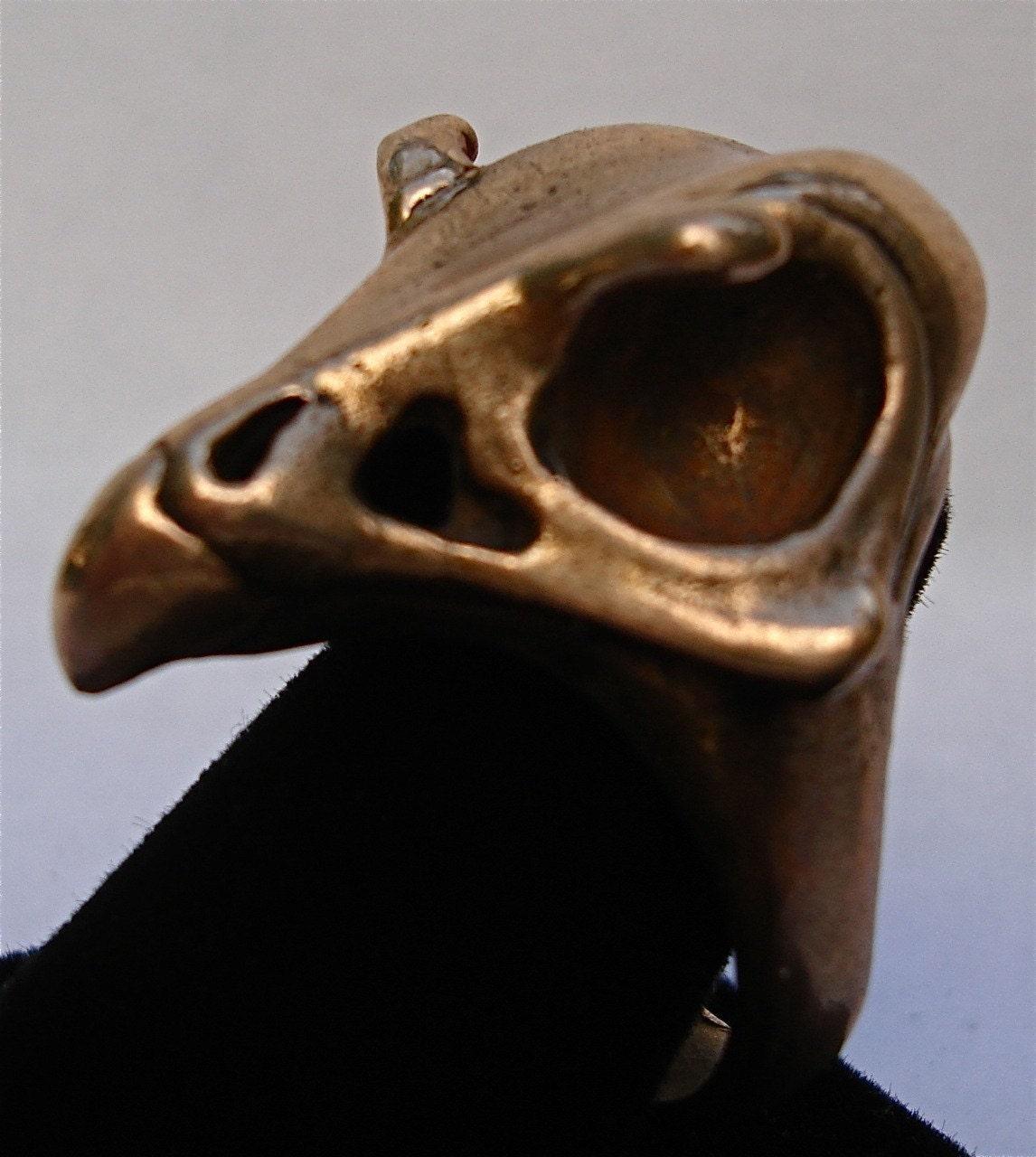 Falcon Skull Ring Bird Skull In Bronze Sizes 4 To 12 Designed