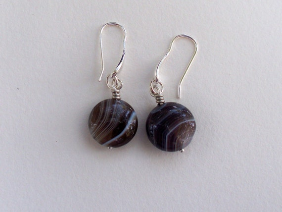 Dark Brown Botswana agate---Accented with Sterling Silver