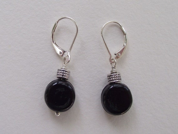 Eclipse---Jet Black Coin  Czech Glass  with Textured Bead Accented with Sterling Silver