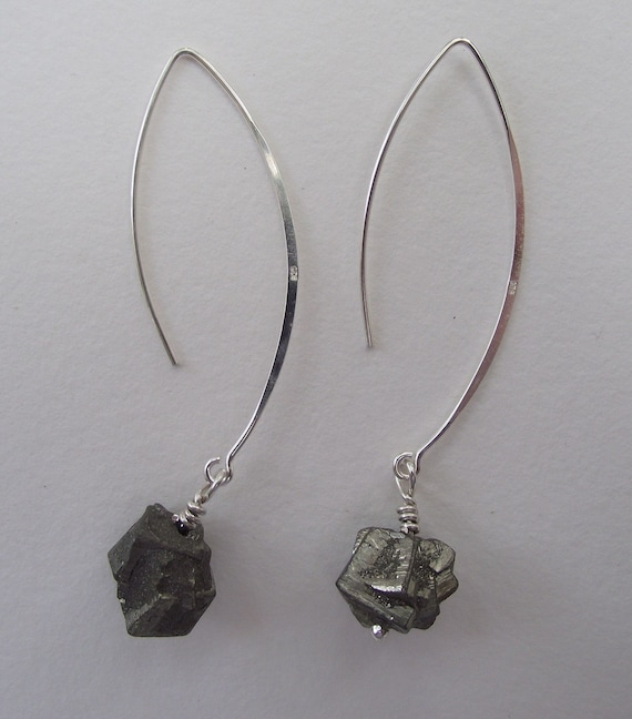 Rock Candy---Chunky Pyrite Accented with Sterling Silver---Dangle