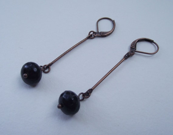 Black Onyx-Faceted---Finished with Copper-Long Dangle.