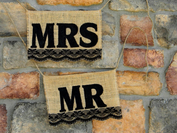 Burlap Lace Black Mr. & Mrs. Chair Signs Bunting Photo Props