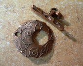 Swirl Textured Copper Ring Toggle