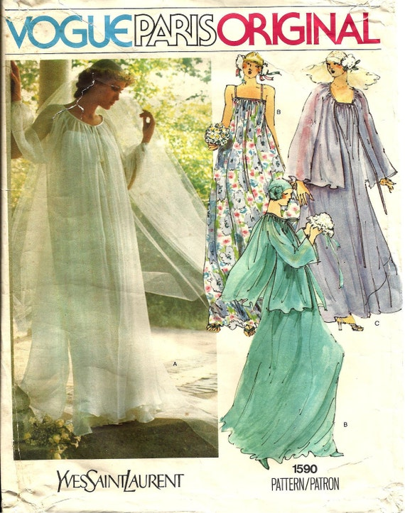 1970s Yves Saint Laurent bridal pattern - Vogue 1590