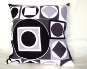 Retro PIllow Cover - Throw Pillow in White Black and Grey Geometric Print.  Maxfield by Alexander Henry Fabric Collection