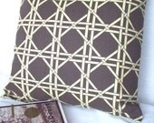 """Chocolate Brown Pillow Cover - Lattice Design, Fabric by Waverly  - 18 """" Square"""