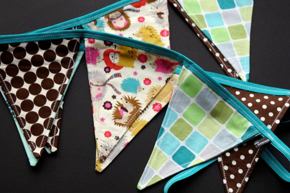 Celebration Pennant, Birthday Banner, Reusable Decoration, Hedgehogs