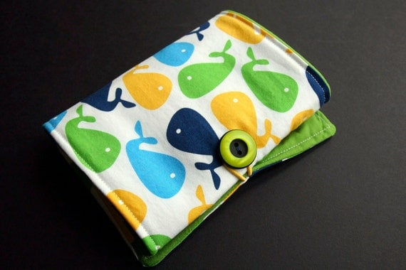 Crayon Wallet, Whales, Solid Colors, Modern